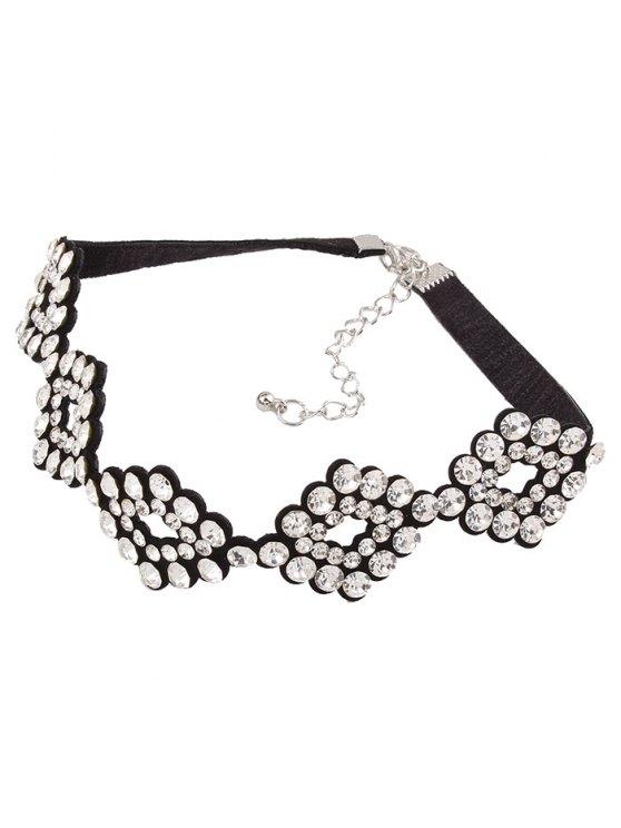 PU Rhinestone Geometric Necklace - WHITE  Mobile