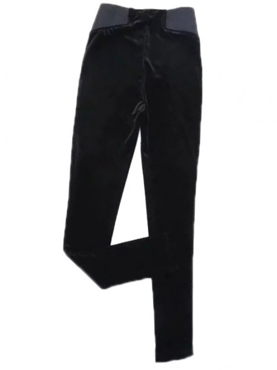 women's Velvet Narrow Feet Pants - BLACK M