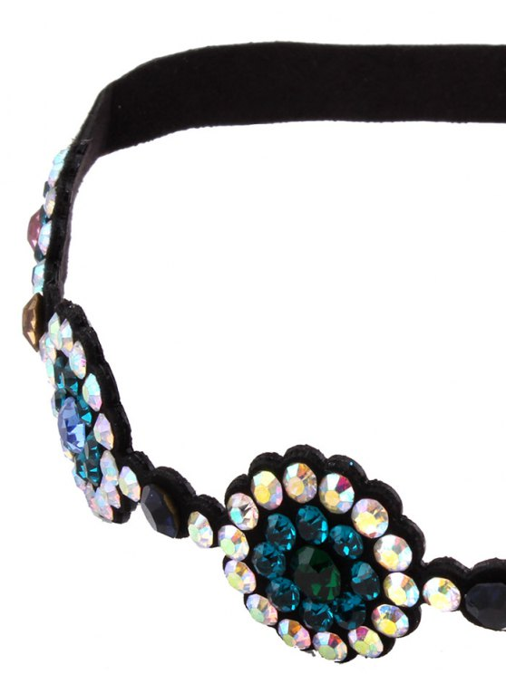 Faux Leather Rhinestoned Choker - BLUE  Mobile