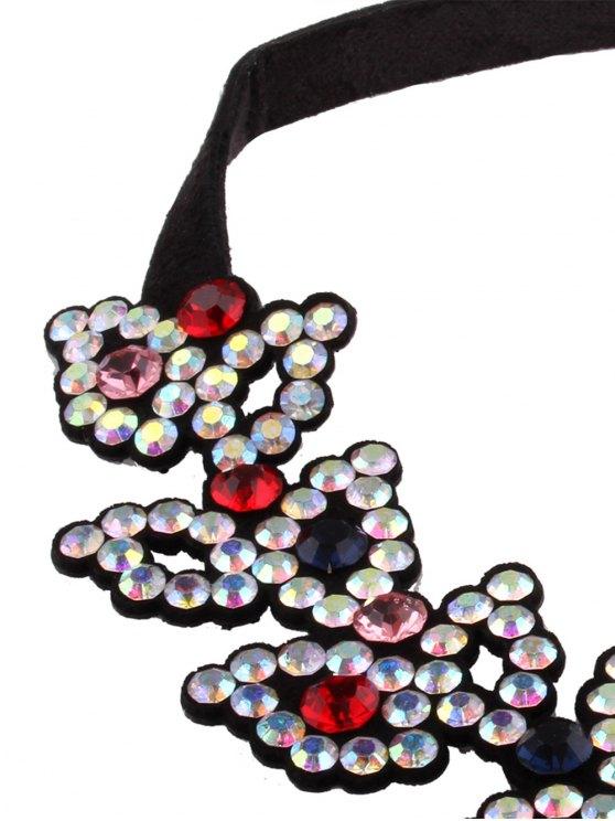 Rhinestone Fake Leather Choker Necklace - COLORFUL  Mobile