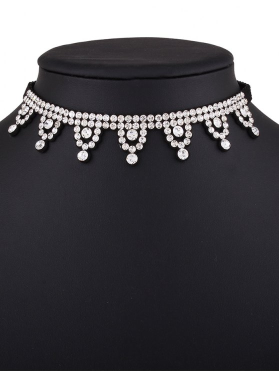 Geometric Rhinestone Choker Necklace - WHITE  Mobile