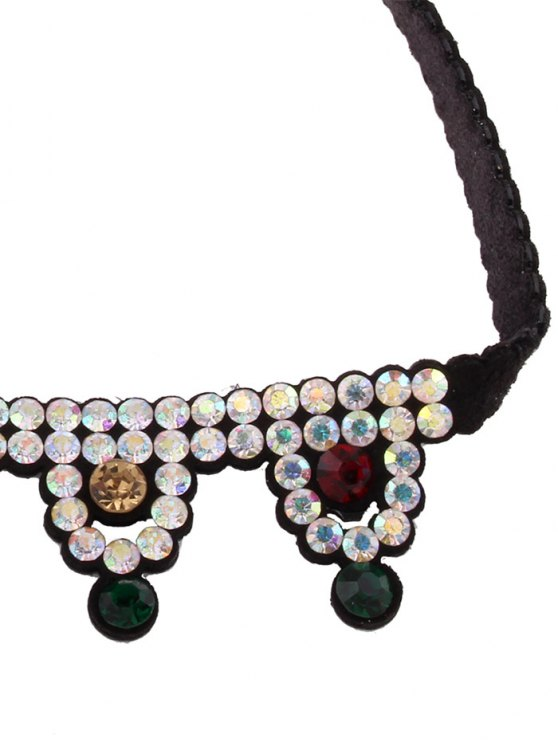 Geometric Rhinestone Choker Necklace - COLORFUL  Mobile