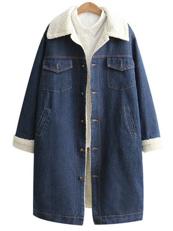 Loose Lamb Wool Denim Coat - BLUE S Mobile