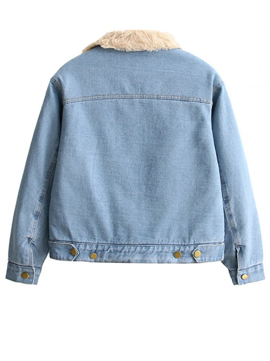 Lamb Wool Jeans Jacket - BLUE S Mobile