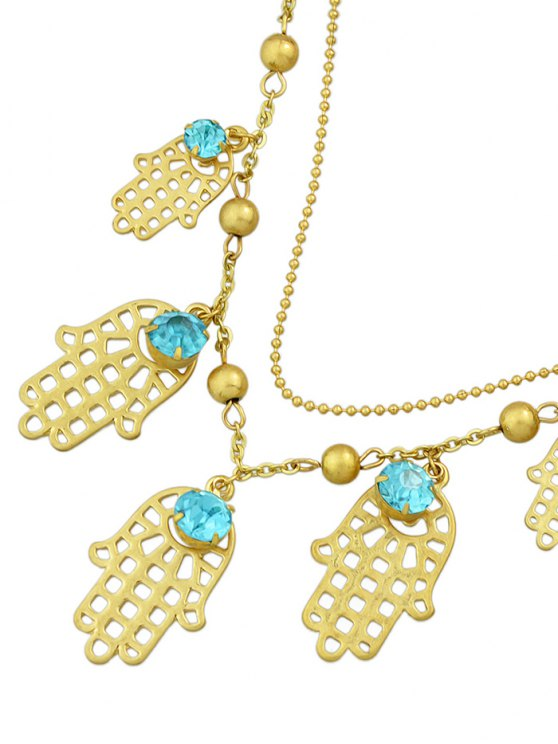 Rhinestone Beads Palm Charm Bracelet -   Mobile