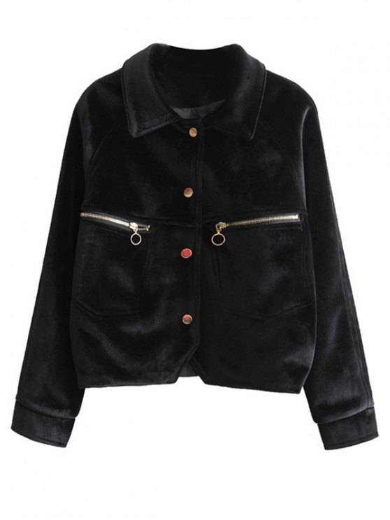 Zipper Embroidered Velvet Jacket - BLACK L Mobile