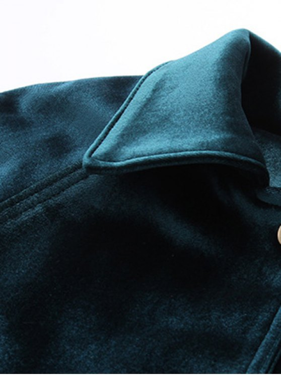 Zipper Embroidered Velvet Jacket - BLACKISH GREEN L Mobile
