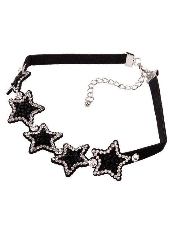 Star Rhinestone Choker Necklace - BLACK  Mobile