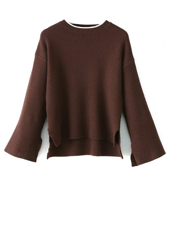 High-Low Slit OversizedSweater - COFFEE ONE SIZE Mobile