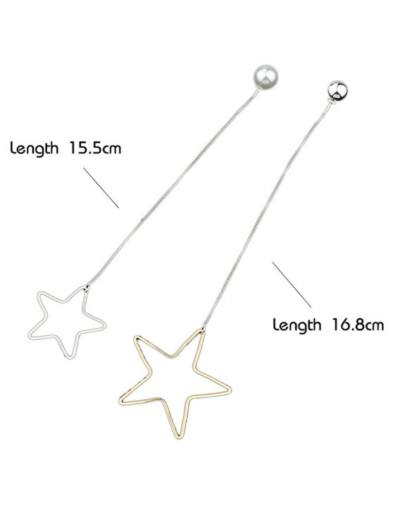 Asymmetric Star Beads Drop Earrings - SILVER AND GOLDEN  Mobile