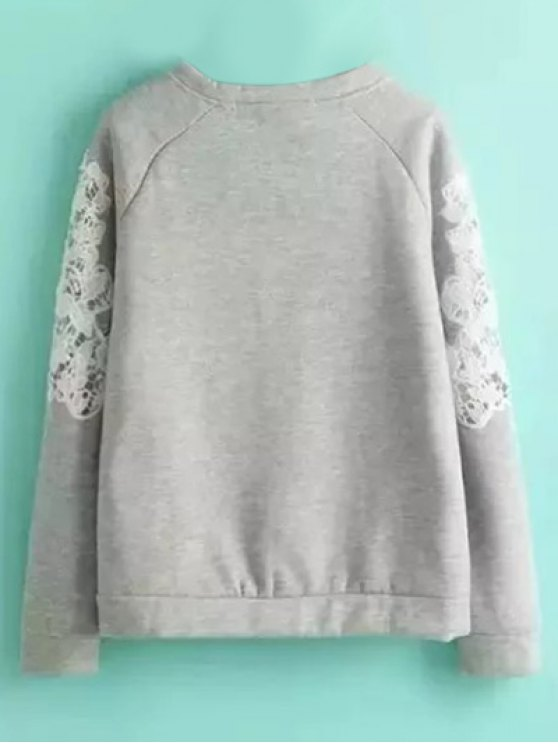 Embroidered Wool Blend Sweatshirt - GRAY M Mobile