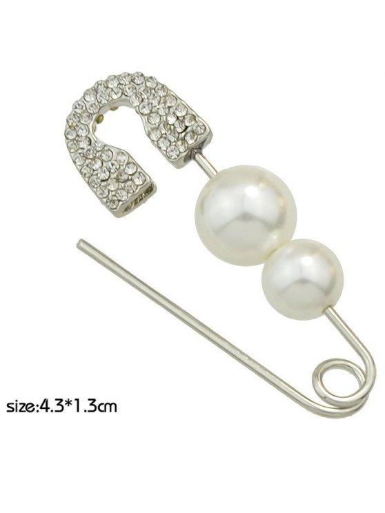 ONE PIECE Faux Pearl Rhinestone Pin Earring - SILVER  Mobile