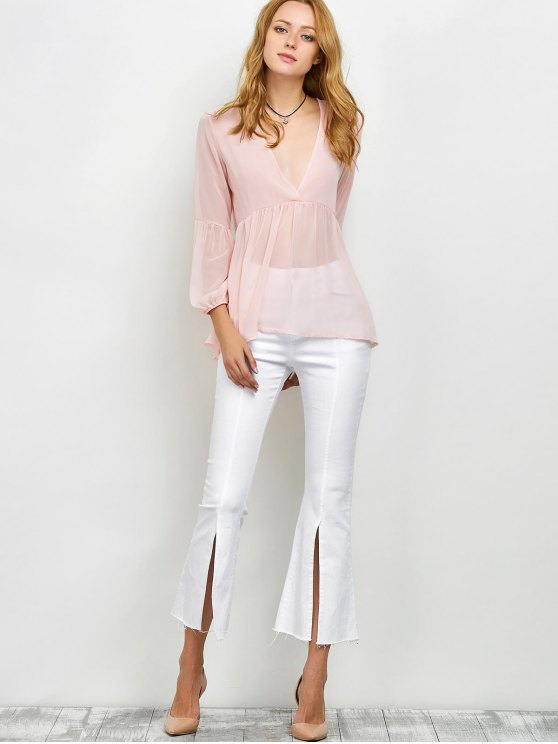 Plunging Neck High-Low Sheer Blouse - PINK XL Mobile