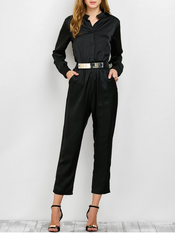 Casual Straight Leg Long Sleeve Jumpsuit - BLACK S Mobile