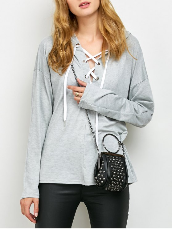 Long Sleeve Lace Up Hooded T Shirt - GRAY S Mobile