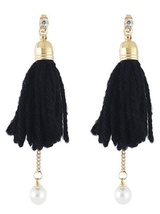Faux Pearl Rhinestone Tassel Earrings -   Mobile