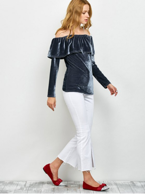 Velvet Off Shoulder Ruffles T-Shirt - GRAY S Mobile