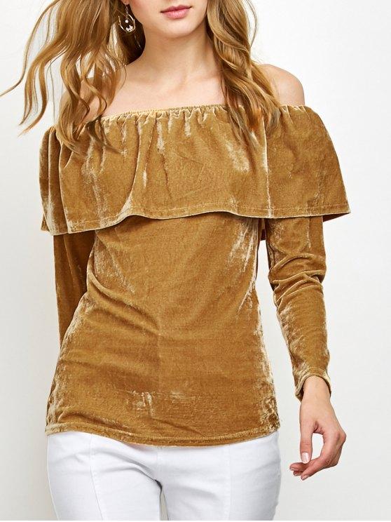 Velvet Off Shoulder Ruffles T-Shirt - GINGER S Mobile