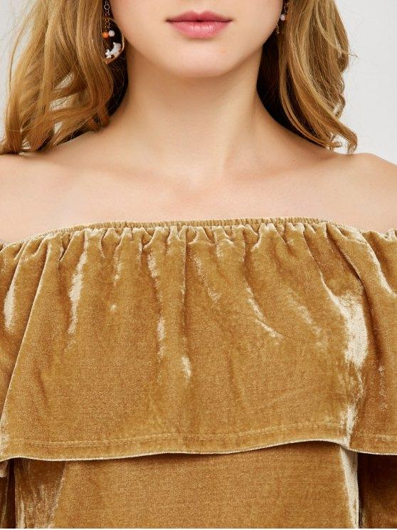 Velvet Off Shoulder Ruffles T-Shirt - GINGER XL Mobile