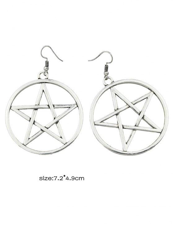 Star Circle Earrings - SILVER  Mobile
