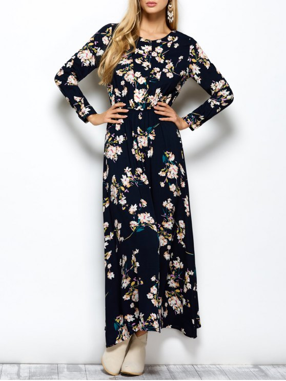 Long Sleeves Maxi Floral Dress - CADETBLUE M Mobile