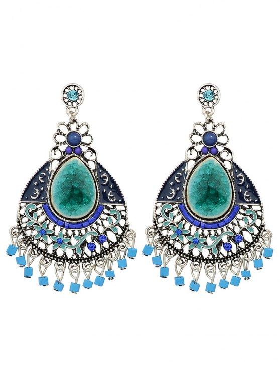 Rhinestone Faux Gem Flower Teardrop Earrings - BLUE  Mobile