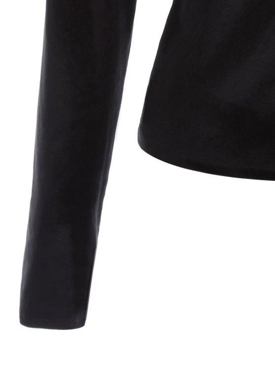 Long Sleeve Velvet Wrap Top - BLACK L Mobile