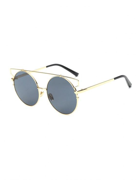 Cross Bar Round Sunglasses - GOLDEN  Mobile