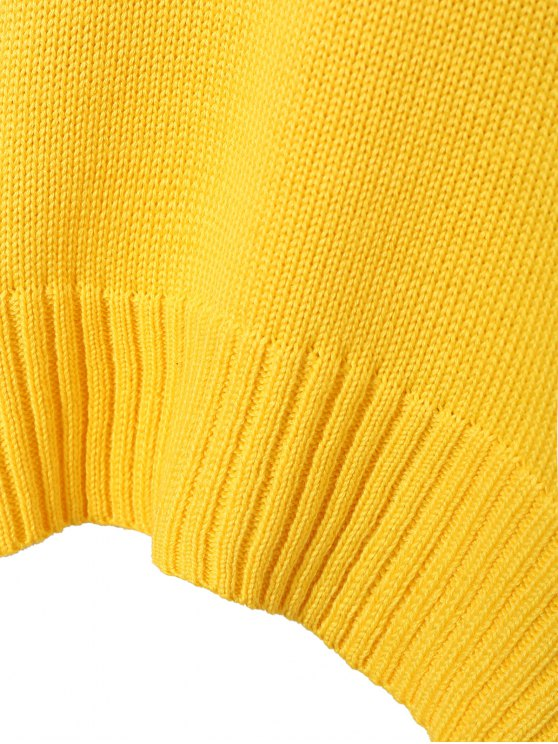 Funnel Neck Plus Size High Low Sweater - YELLOW 2XL Mobile