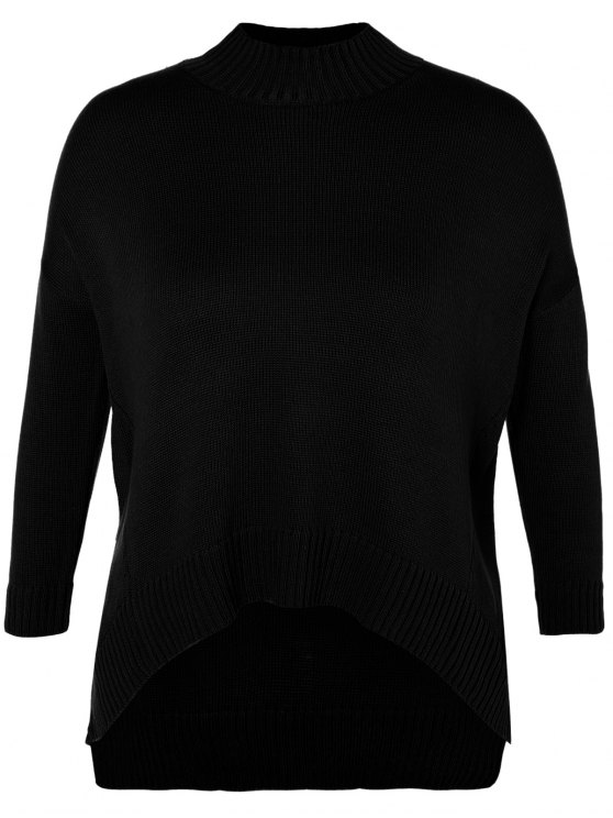 Funnel Neck Plus Size High Low Sweater - BLACK 3XL Mobile