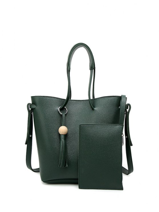 Tassel Shoulder Bag With Wristlet - GREEN  Mobile
