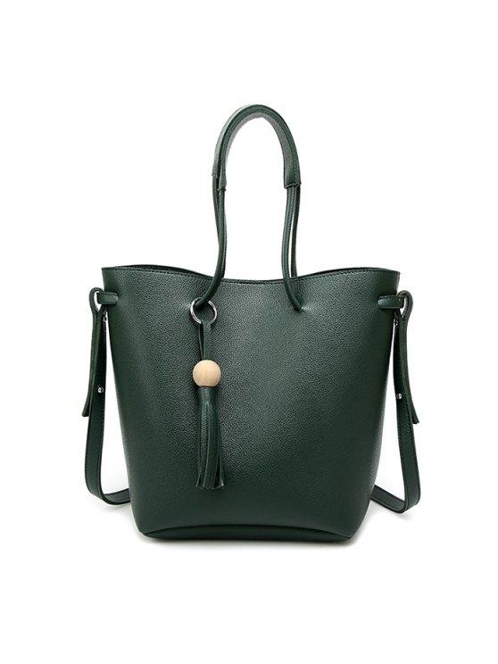 Tassel Shoulder Bag With Wristlet - BLACK  Mobile