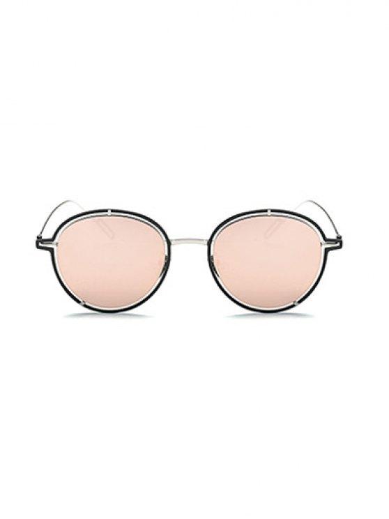 Double Rims Metal Oval Mirrored Sunglasses - BLACK  Mobile