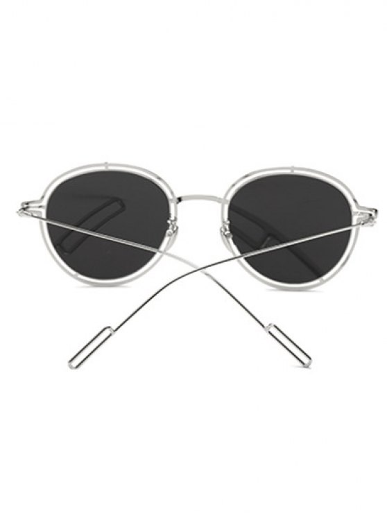 Double Rims Metal Oval Mirrored Sunglasses -   Mobile