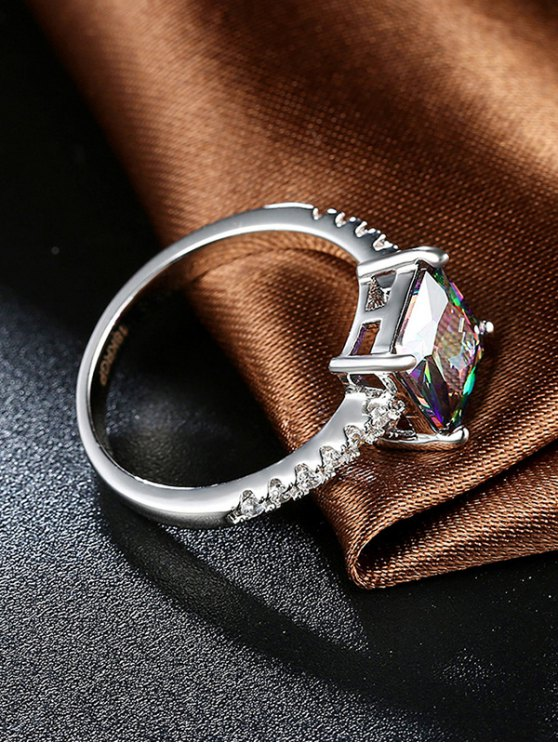 Artificial Gem Rhinestone Square Ring - SILVER 8 Mobile