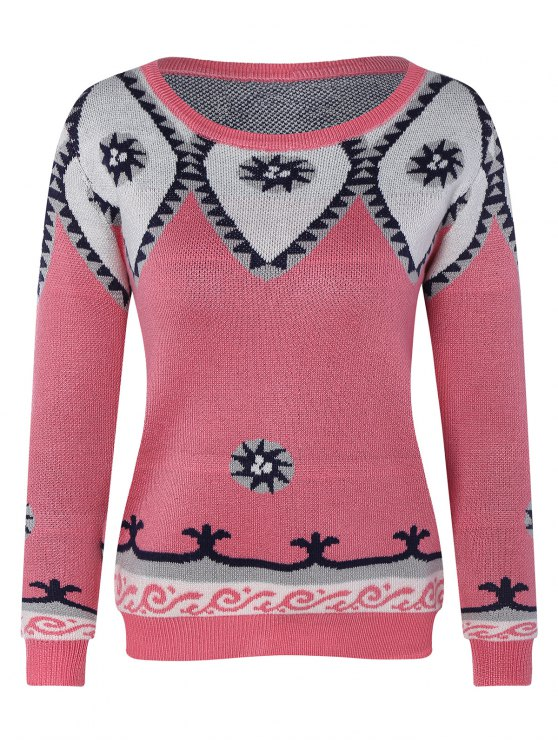 Round Neck Geometric Pattern Sweater - PINK ONE SIZE Mobile