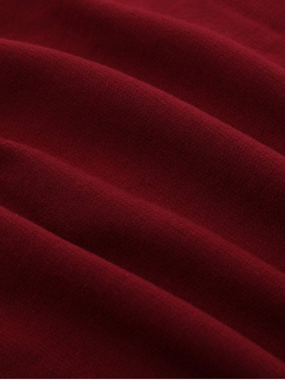 Raw Cut Raglan Sleeve Cropped Hoodie - RED WITH BLACK S Mobile
