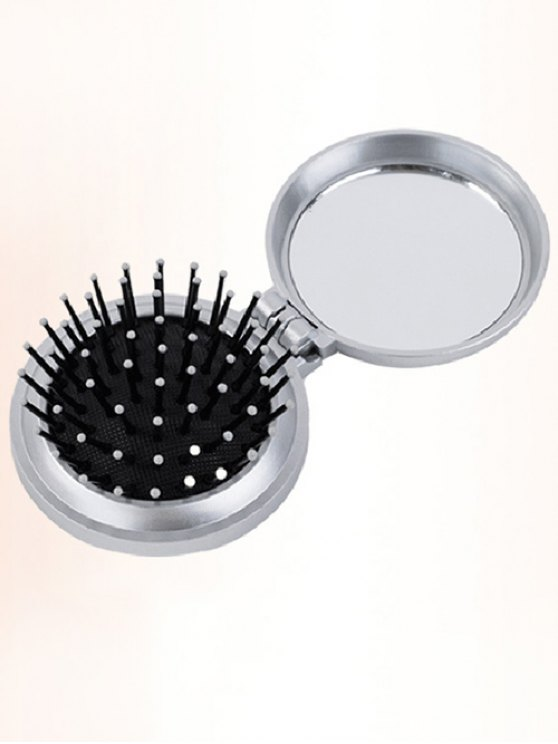 Portable Hair Massage Comb with Mirror - SILVER  Mobile