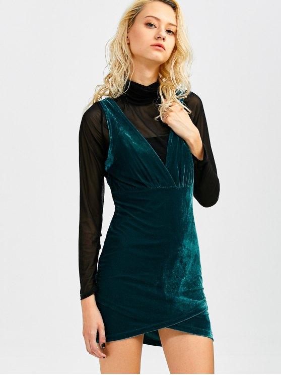 Sleeveless Velvet Mini Dress - PEACOCK BLUE S Mobile