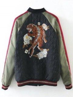 Tiger Embroidered Souvenir Baseball Jacket - Black S