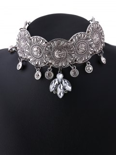 Faux Crystal Flower Choker Necklace - Silver