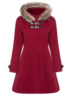 A Line Wool Blend Hooded Coat - Red Xl