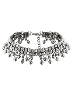 Jingle Bell Tassel Faux Crystal Necklace - Silver