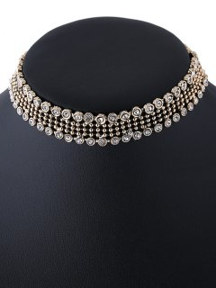Faux Crystal Beads Choker Necklace - Golden