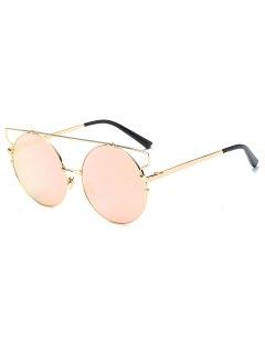 Cross Bar Round Mirrored Sunglasses - Pink