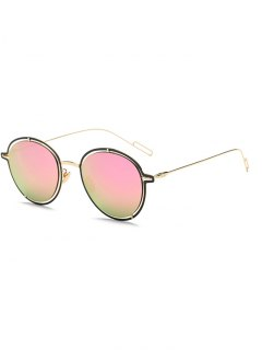 Double Rims Metal Oval Mirrored Sunglasses - Pink
