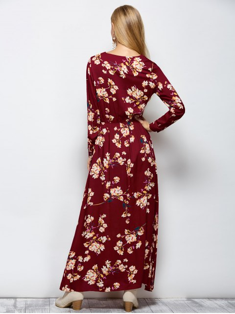 best Long Sleeves Maxi Floral Dress - WINE RED S Mobile