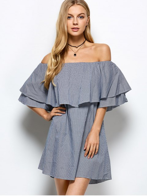 unique Checked Off The Shoulder Ruffle Dress - BLUE AND WHITE L Mobile