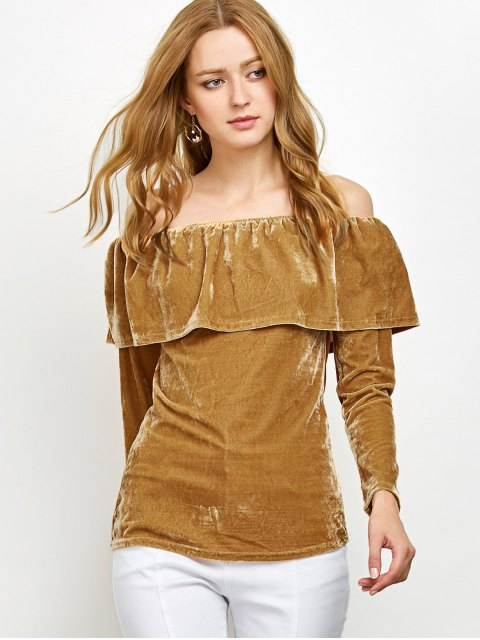 women Velvet Off Shoulder Ruffles T-Shirt - GINGER XL Mobile