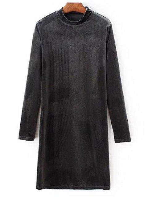 sale Mock Neck Long Sleeves Velvet Dress - GRAY M Mobile